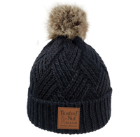The Busted Nut Hatch Knit Fur Pom Cap - Black