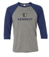 Kennedy Elementary Screen Printed Adult 3/4 Sleeve Baseball T-Shirt