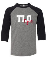 TLO Tigers Youth 3/4 Sleeve Baseball T-Shirt