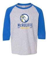 McAuliffe Youth Screen Printed Raglan Three-Quarter Sleeve T-Shirt