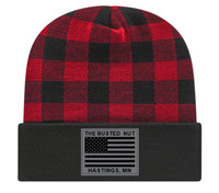 Busted Nut Buffalo Plaid Beanie