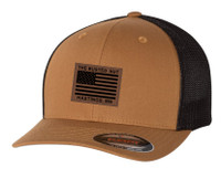 Busted Nut Flexfit Trucker Cap with Flag patch - Caramel