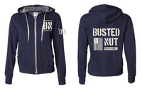Busted Nut French Terry Zip Hoody- Navy w/ White