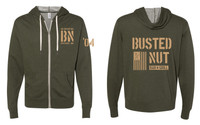 Busted Nut French Terry Zip Hoody- Olive Green