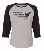 Alliance Education Center Ladies Jersey  3/4 Sleeve Baseball Tee
