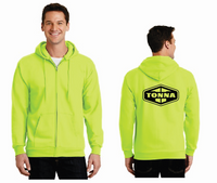 Tonna Safety Green Full Zip Hood Sweatshirt