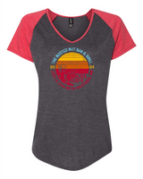 Busted Nut Round Colored Logo Ladies V Neck