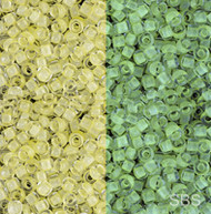 11/0 Japanese Seed Beads Glow in the Yellow Glow Bright Green 28 Gms