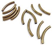 12 bronze metal tube beads