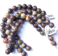 12mm Dakota- Gemstone Madagascar Rainforest Round Agate Beads