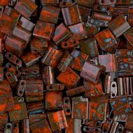 2 Hole 5mm Tila OP DK Orange Picasso Seed Beads 10 Grams