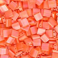 2 Hole 5mm Tila OP Matte Orange AB Seed Beads 10 Grams