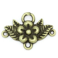 3-row  Ant Brass Flower Connector