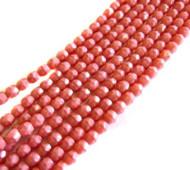 4mm Czech Pink Coral Fire Polish Glass Beads
