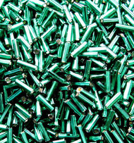 6mm Bugle Japanese Silver Lined Emerald Teal Glass Beads 15Gram