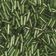 6mm Bugle Japanese Siver Lined Olive Glass Beads 15 Gram