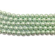 6mm LT Green Czech round smooth Glass Pearl 2