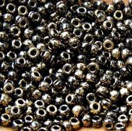 8-Japanese Marble Bronze Black Glass Seed beads 15 Gram