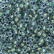 8/0 Sparkly Green Lined Glass Beads Japanese