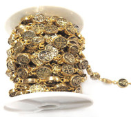 Antique Gold Color Plated beaded Cable Chain