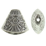Base Metal Silver Plated Bead Cap
