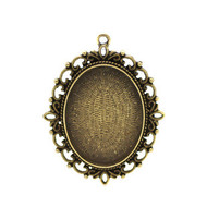 Cabochon Antique Brass Oval Metal Pendant