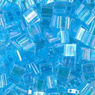 Copy of 2 Hole 5mm Tila Transparent Aqua AB Seed Beads 10 Grams