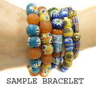 Cylinder Recycled Glass African handmade Natural Beads
