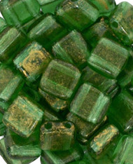 Czech Glass Gold Marbled Green Emerald 6mm 2-Hole Tile Bead 25pcs Pack