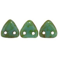 Czech Glass Triangle 2Hole 6mm Turquoise Picasso 7 Gram