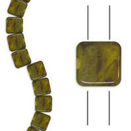 Czech Glass Yellow Opaque Picasso 6mm 2-Hole Tile Bead 25pcs Pack