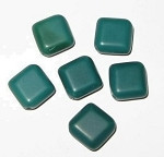 Czech opaque kelly green squaredelle  glass beads