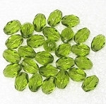 Czech Oval faceted Peridot fire polished  beads