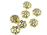 Flower Filigree Bead Cap Antique Gold