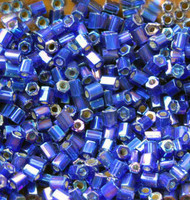 Hex Japanese S/L Cobal Blue  AB Glass Seed beads