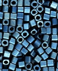 Japanese 4mm Cube Matte Metallic Blue Opaque Glass Beads