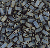 Japanese Half Tila Matte Met Silver Gray Iris Glass Beads 10Gm Bag