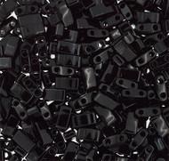 Japanese Half Tila Opaque Black Glass Beads 10Gm Bag