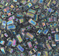 Japanese Half Tila Trans Gray Rainbow Luster Glass Beads 10Gm Bag