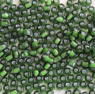 Japanese Lined White Transparent Light Forest Green Glass Seed beads