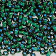 Japanese Lt Blue Lined Dark Green Glass Seed beads