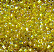 Japanese Lt Yellow Silver Lined AB Glass Seed beads