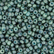 Japanese Marbled Opaque Blue Turquoise Glass Seed beads 15 Grams