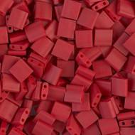 Japanese Metallic Matte Brick Red Tila Glass Beads
