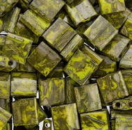 Japanese Opaque Moss Peridot Tila Glass Beads