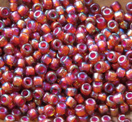 Japanese Pink Lined Ruby Red AB Glass Seed beads