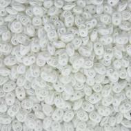 Miniduo 2x4mm Pastel Snow white Czech Glass Beads