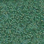 Miyuki 1.8mm Cube Matte Tr Green Ab Beads
