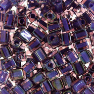 Miyuki 3mm Square Purple Lined AB Beads