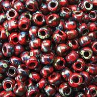 6/0 Miyuki Picasso Red Garnet Matte Beads